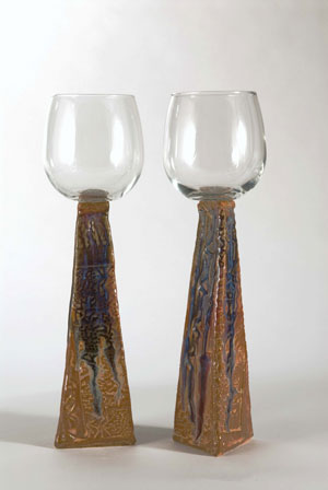 Handbuilt goblets with glass cups